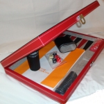 "15"" Black & Red Leatherette Backgammon"